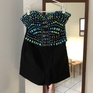 Guess Sz 4 BLK romper with blue iridescent beads